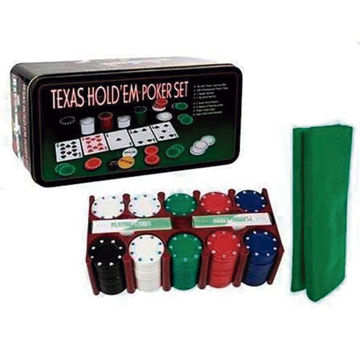 Jogo De Poker 200 Fichas C/feltro Poker Set 2 Baralho