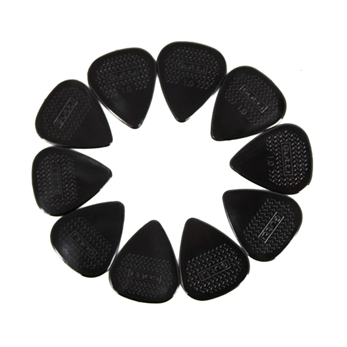 Kit 10 Palhetas Violão Standard ultra Grip 1MM Nylon Black