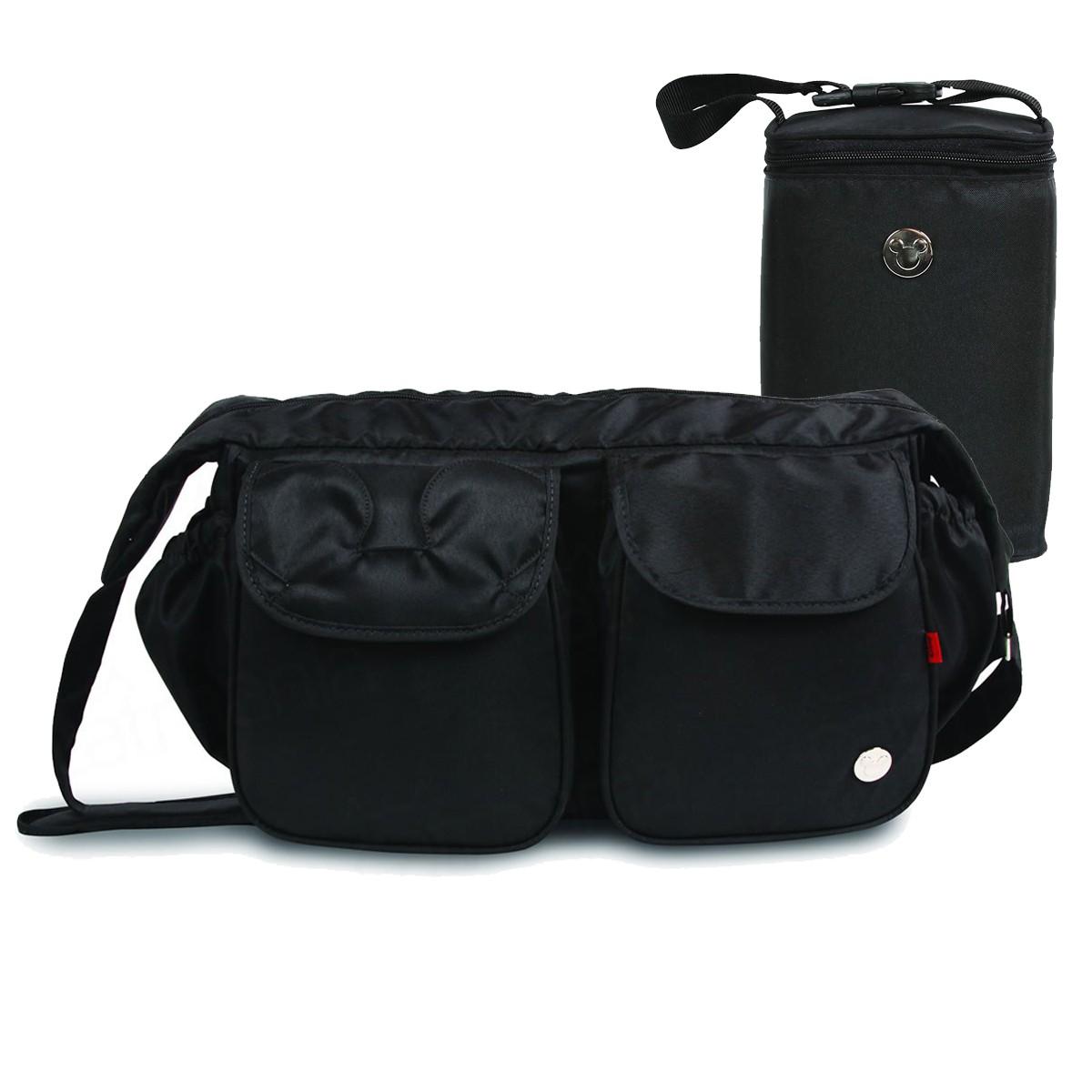 Kit Baby Bag Luxo 1983 + Porta Mamadeira Mickey Mouse Preto C/ Trocador
