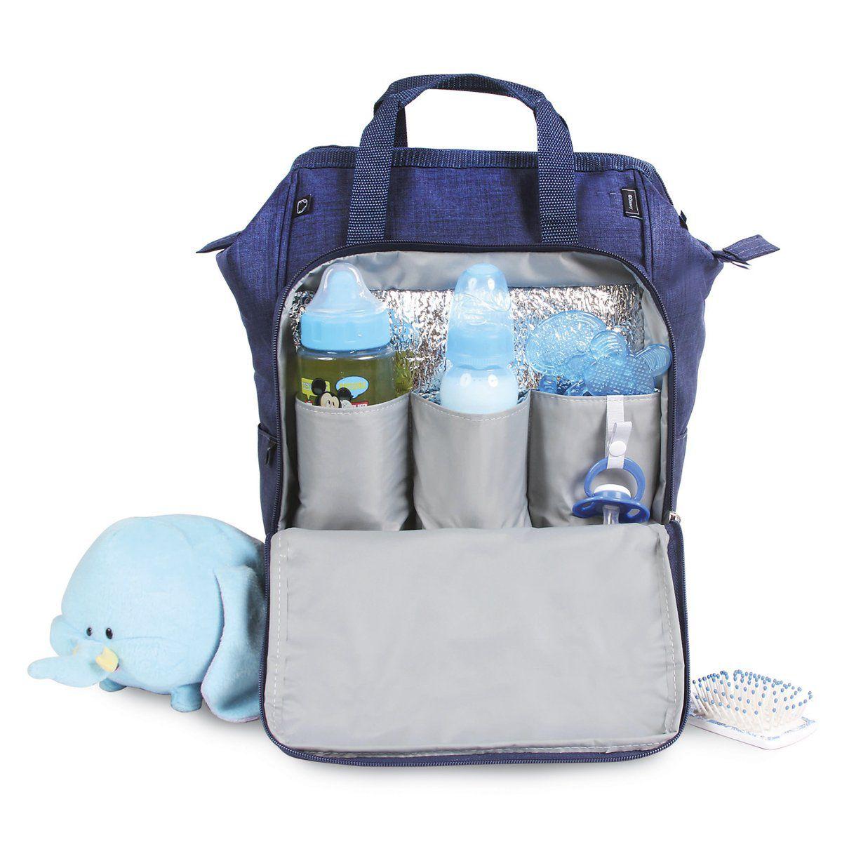 Kit Baby Bag Mochila + Porta Mamadeira Mickey Mouse Azul c/ Trocador Disney