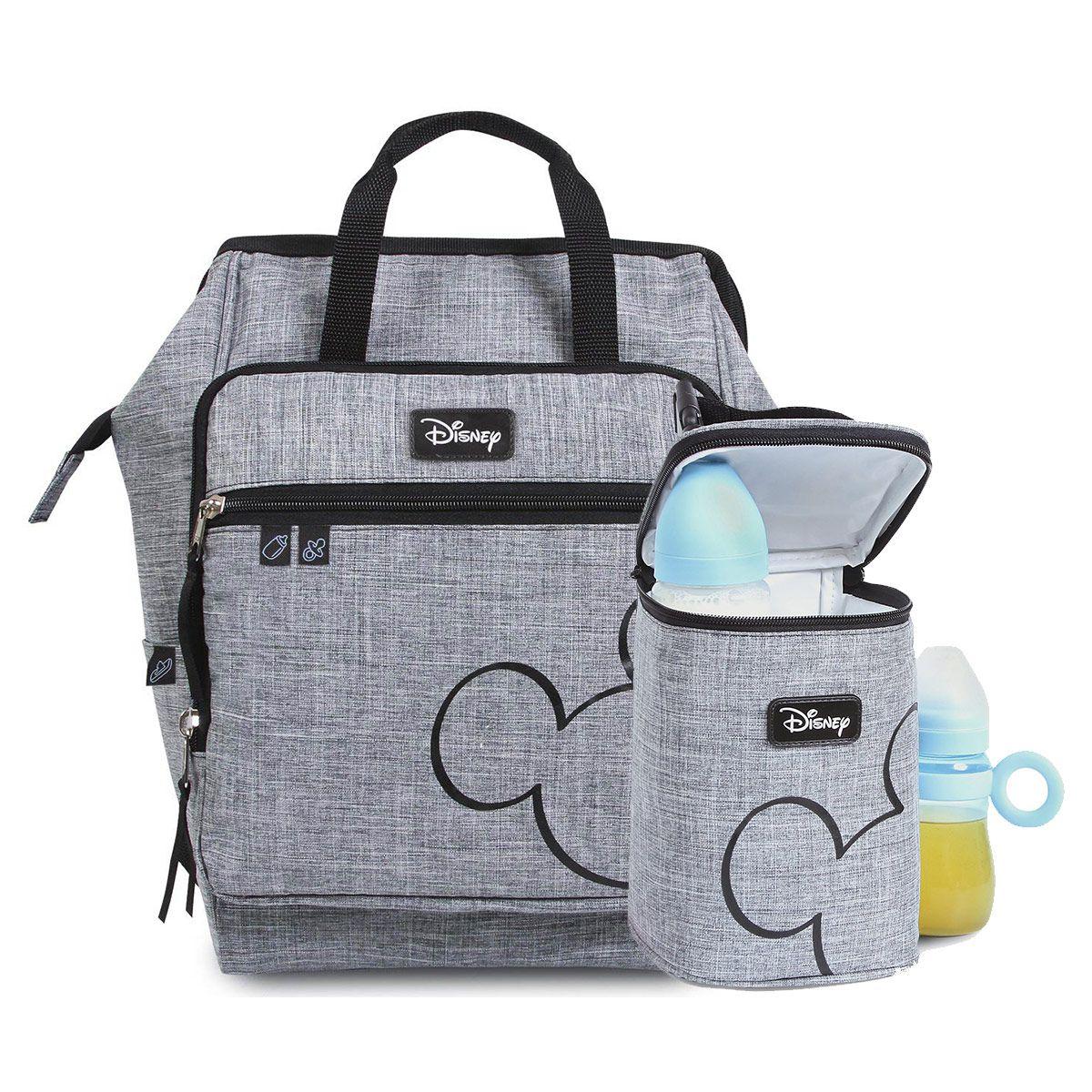 Kit Baby Bag Mochila + Porta Mamadeira Mickey Mouse Cinza c/ Trocador Disney