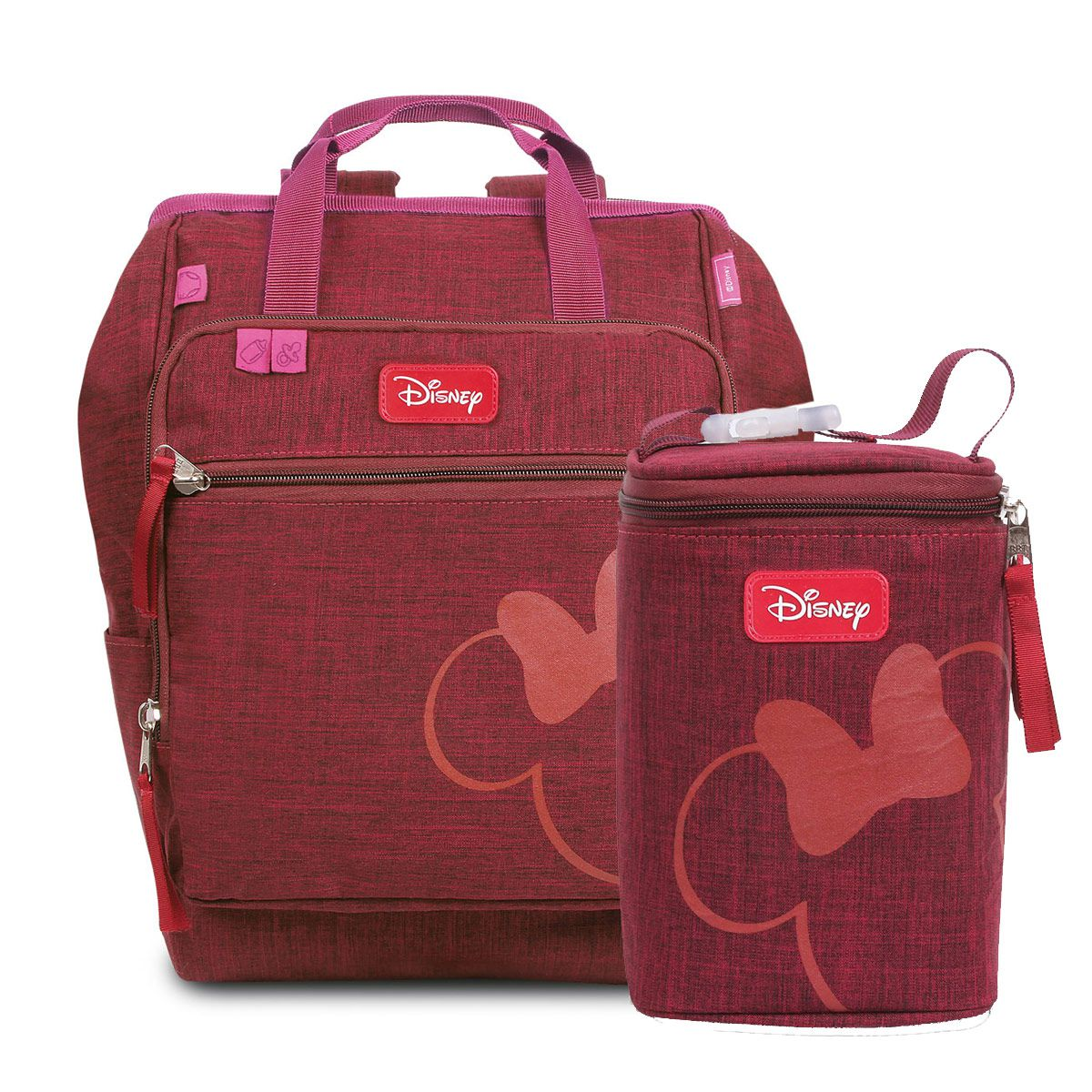 Kit Baby Bag Mochila + Porta Mamadeira Minnie Mouse Vinho c/ Trocador Disney