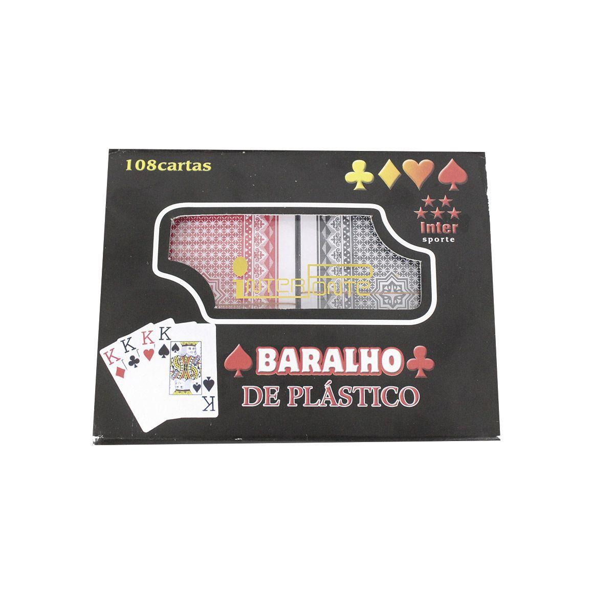 Kit com 2 Baralhos de plastico Preto e Vermelho Total 108 cartas