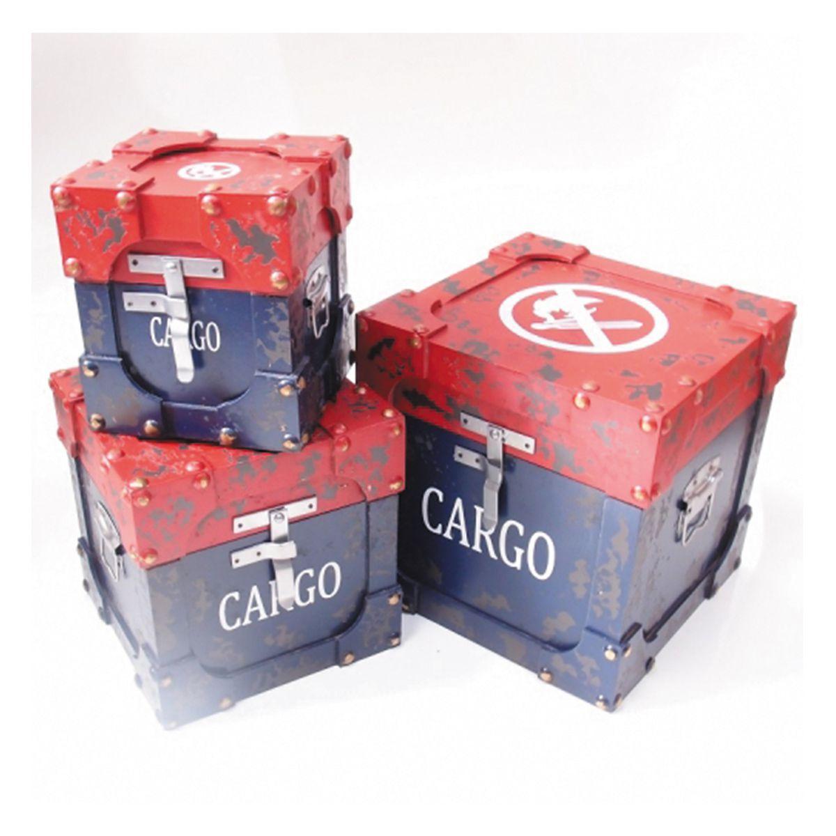 Kit com 3 Caixas Organizadora Mod. Baú Cargo ok