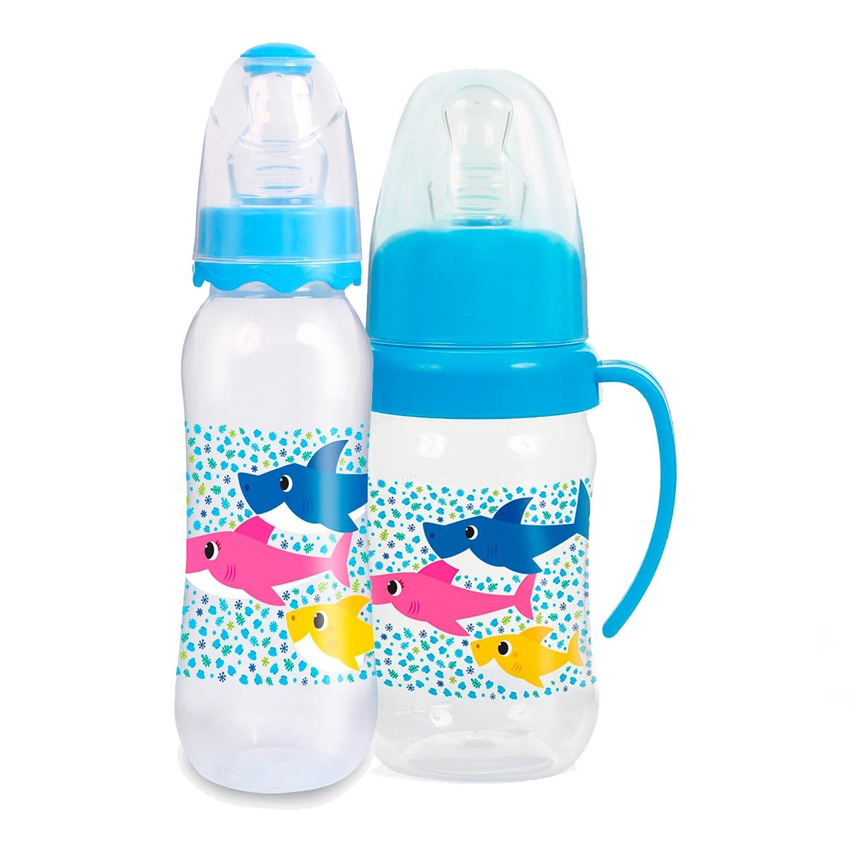 Kit De Mamadeiras Baby Shark Azul BabyGo Premium