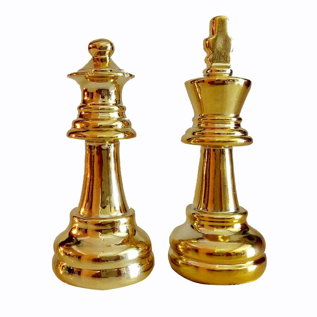 Kit Decor Chess C/2 Peças de Xadrez Rei e Rainha Dourado