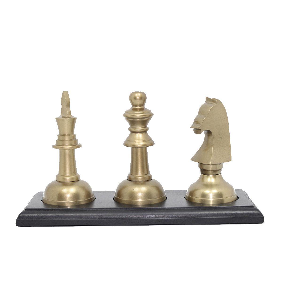 Kit Decoração Xadrez Chess Gold - Cavalo, Rainha e Rei em Alumínio