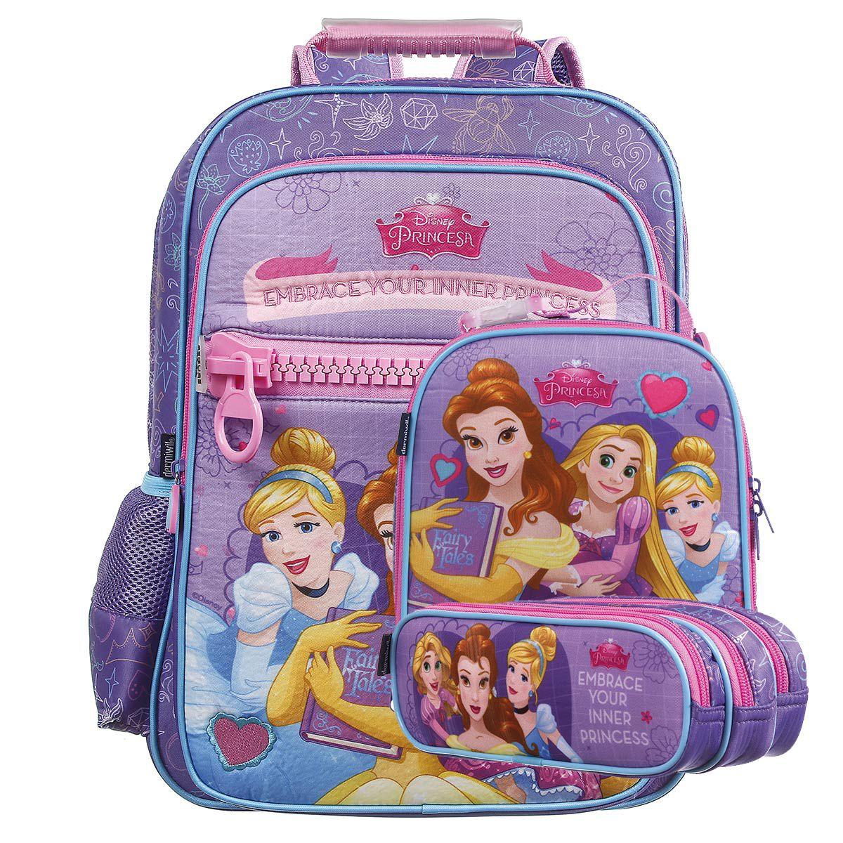 Kit Mochila Escolar Princesas Disney + Lancheira + Estojo