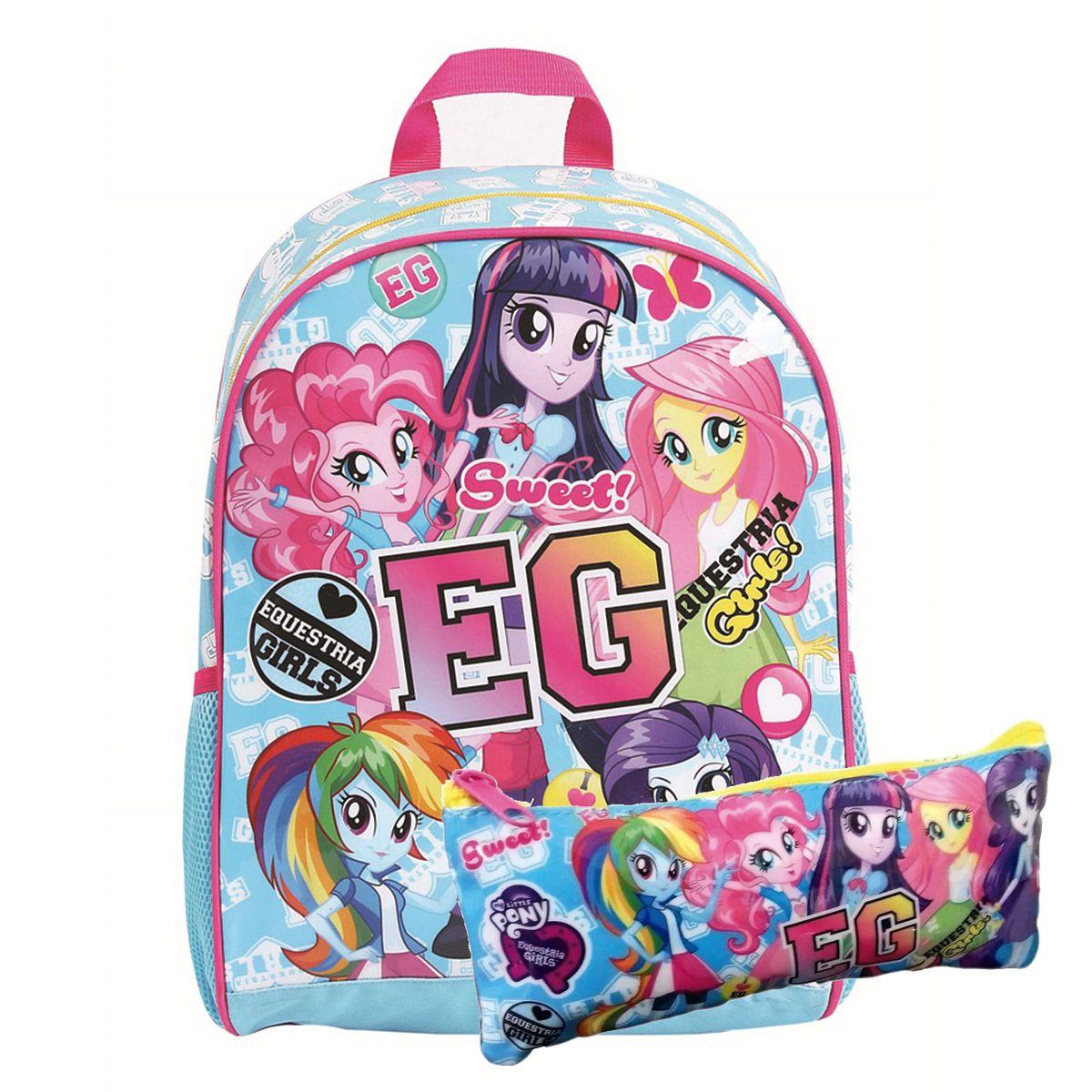 Kit Mochila G My Little Pony Equestria Girls C/ estojo Oficial