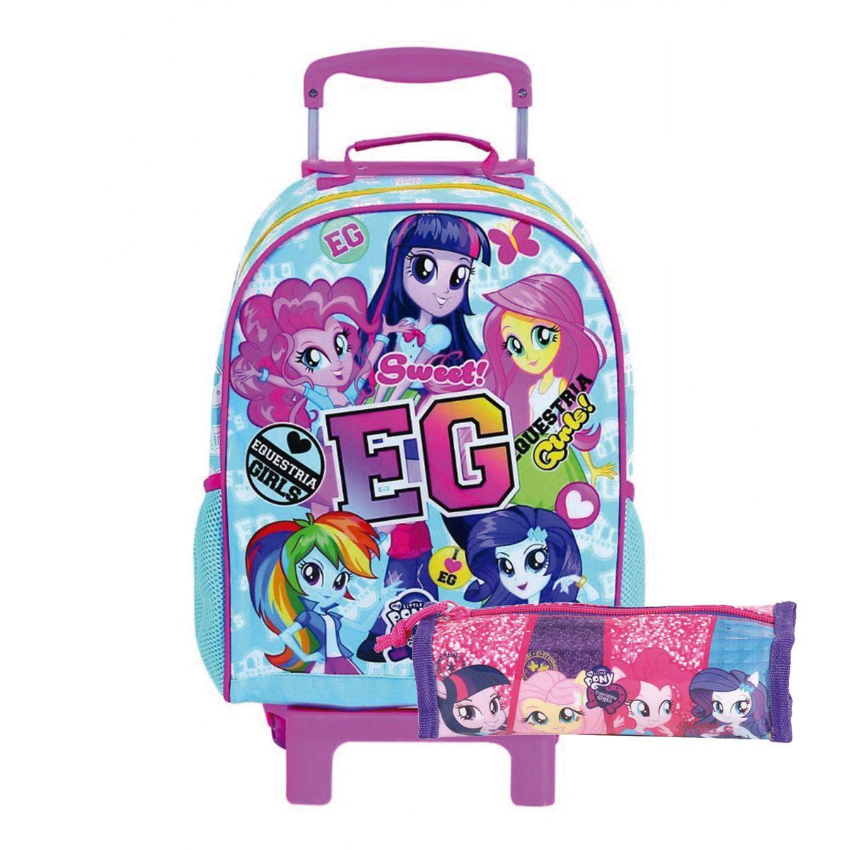 Kit Mochilete c/ Rodinha My Little Pony Equestria Girls c/ estojo Oficial
