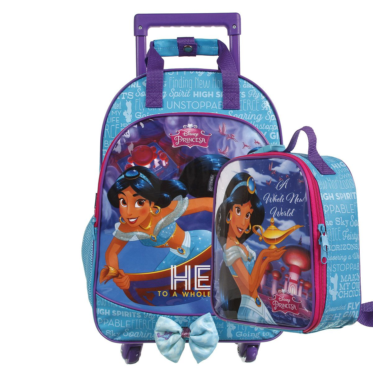 Kit Mochilete Escolar 360º Princesa Jasmine Disney + Lancheira