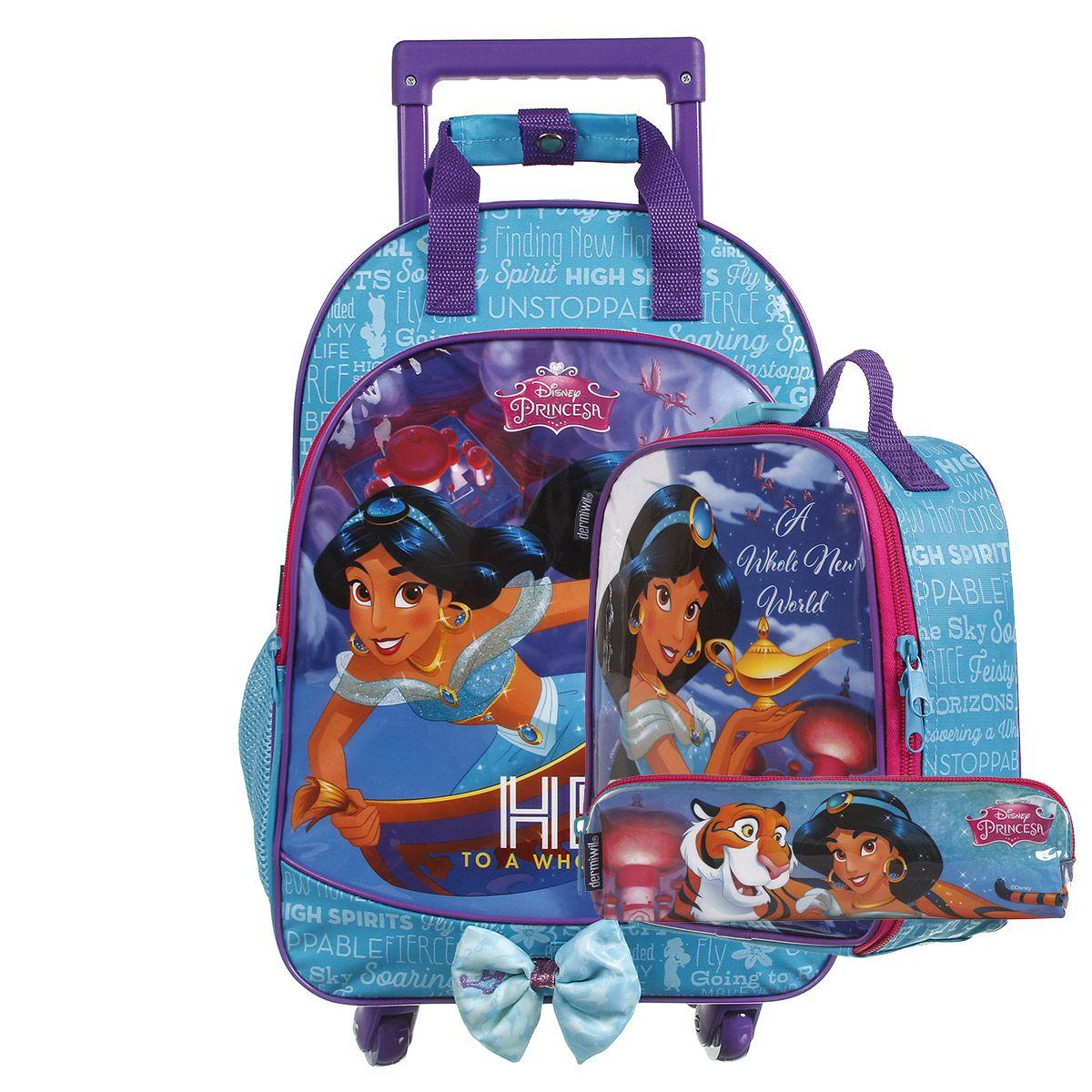 Kit Mochilete Escolar 360º Princesa Jasmine Disney + Lancheira + Estojo