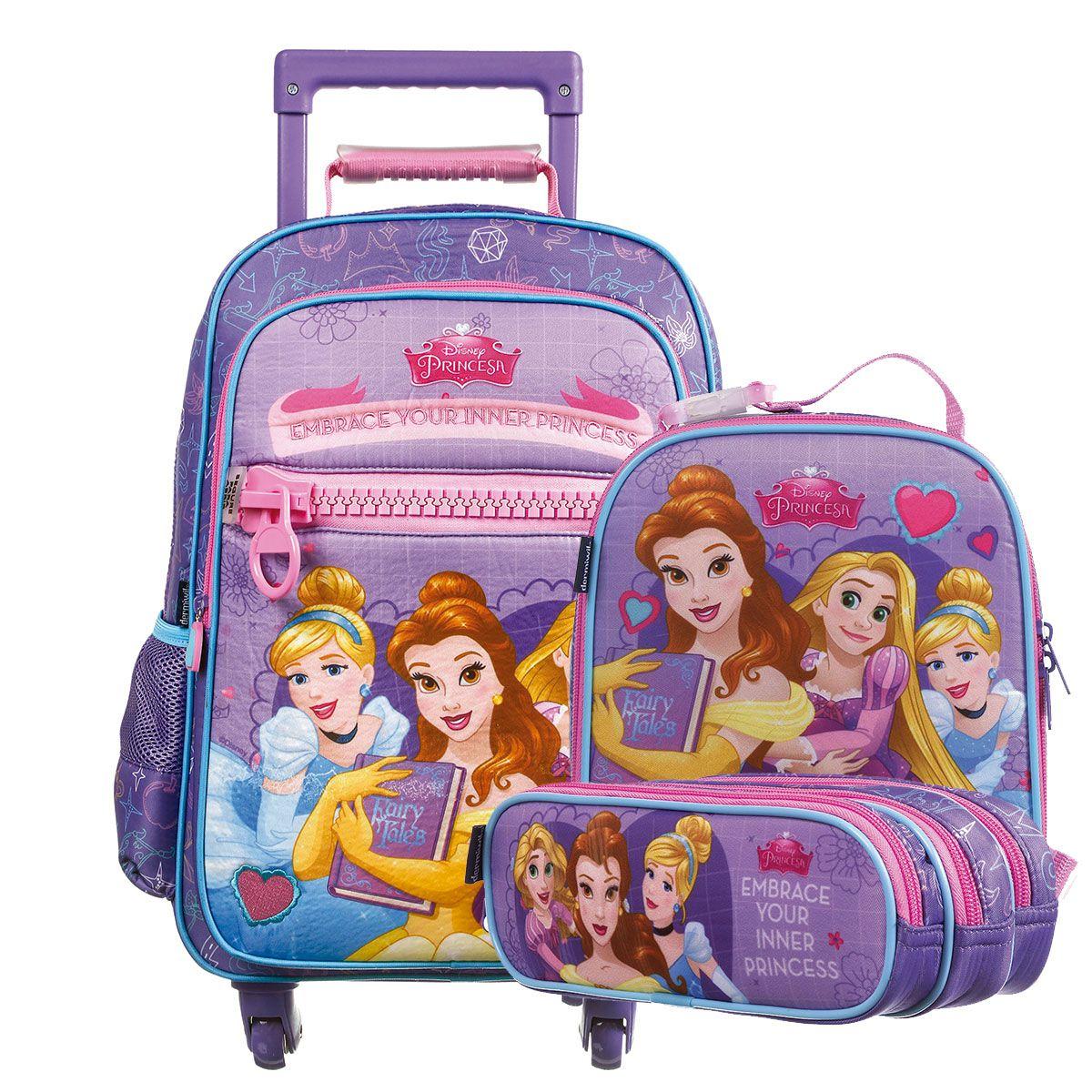 Kit Mochilete Escolar 360º Princesas Disney + Lancheira + Estojo