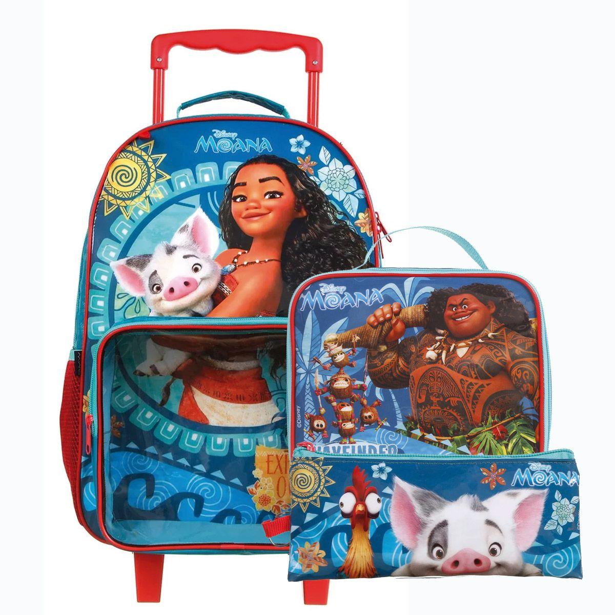 Kit Mochilete Escolar Moana c/Rodinha + Lancheira + Estojo Disney