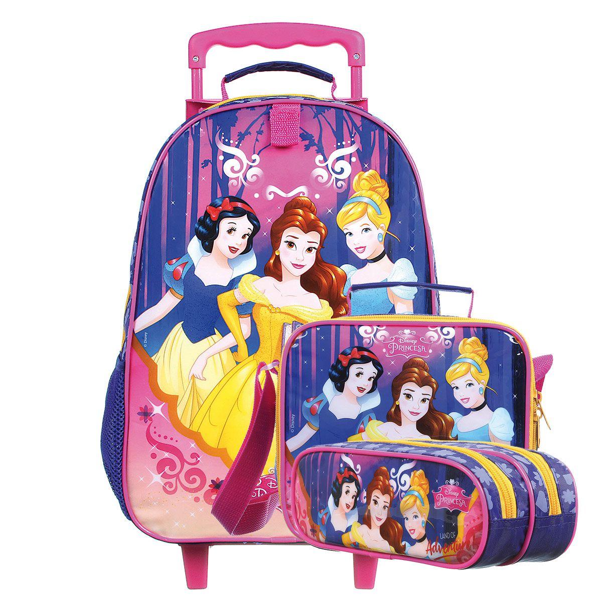 Kit Mochilete Escolar Princesas - Land of Adventure Disney + Lancheira + Estojo