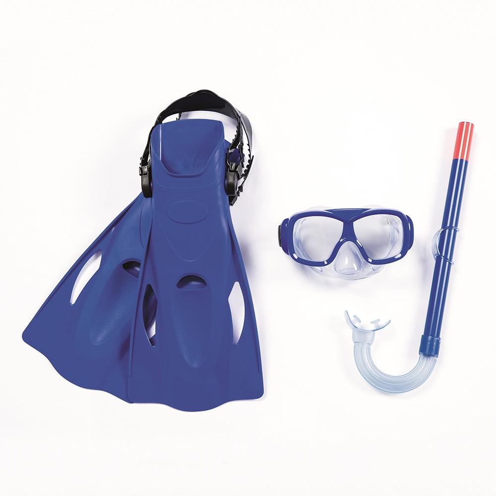 Kit Natação Snorkel Máscara + Pés De Pato Azul Belfix