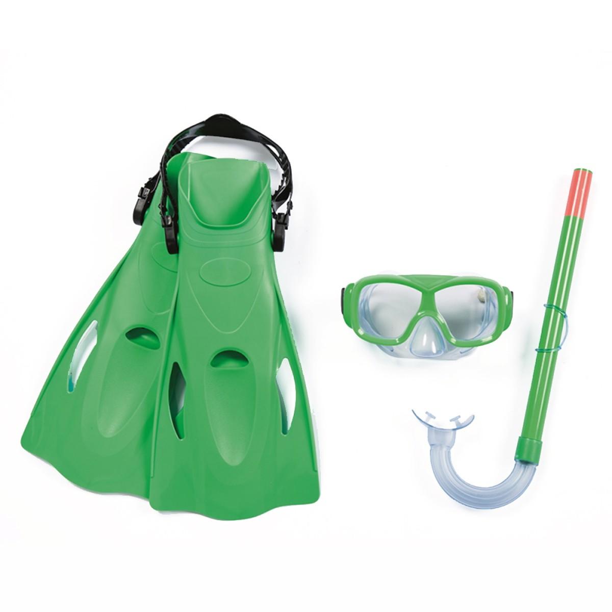 Kit Natação Snorkel Máscara + Pés De Pato Verde Belfix