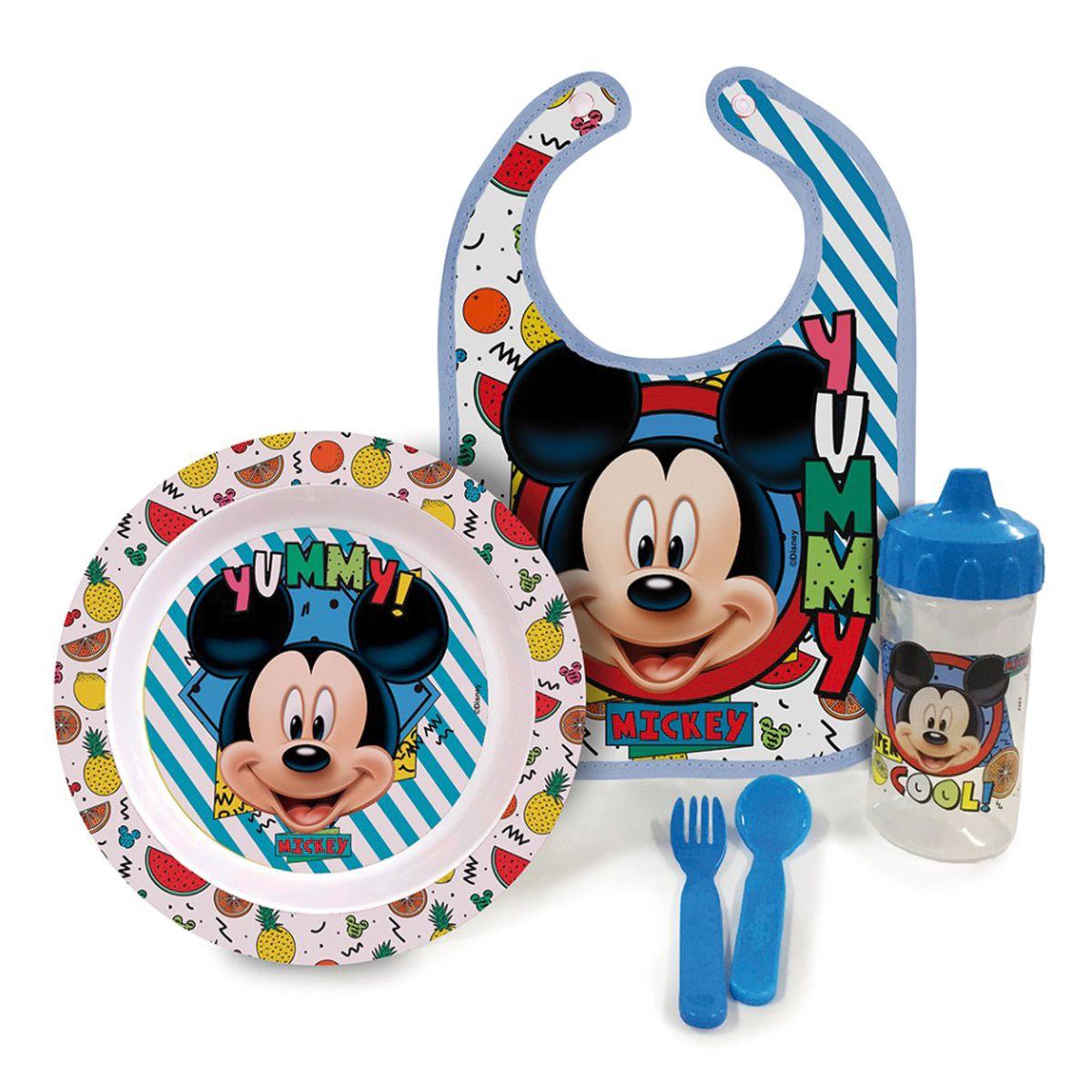 Kit Oficial a Hora da Papinha Mickey c/ Babador BabyGo 1287