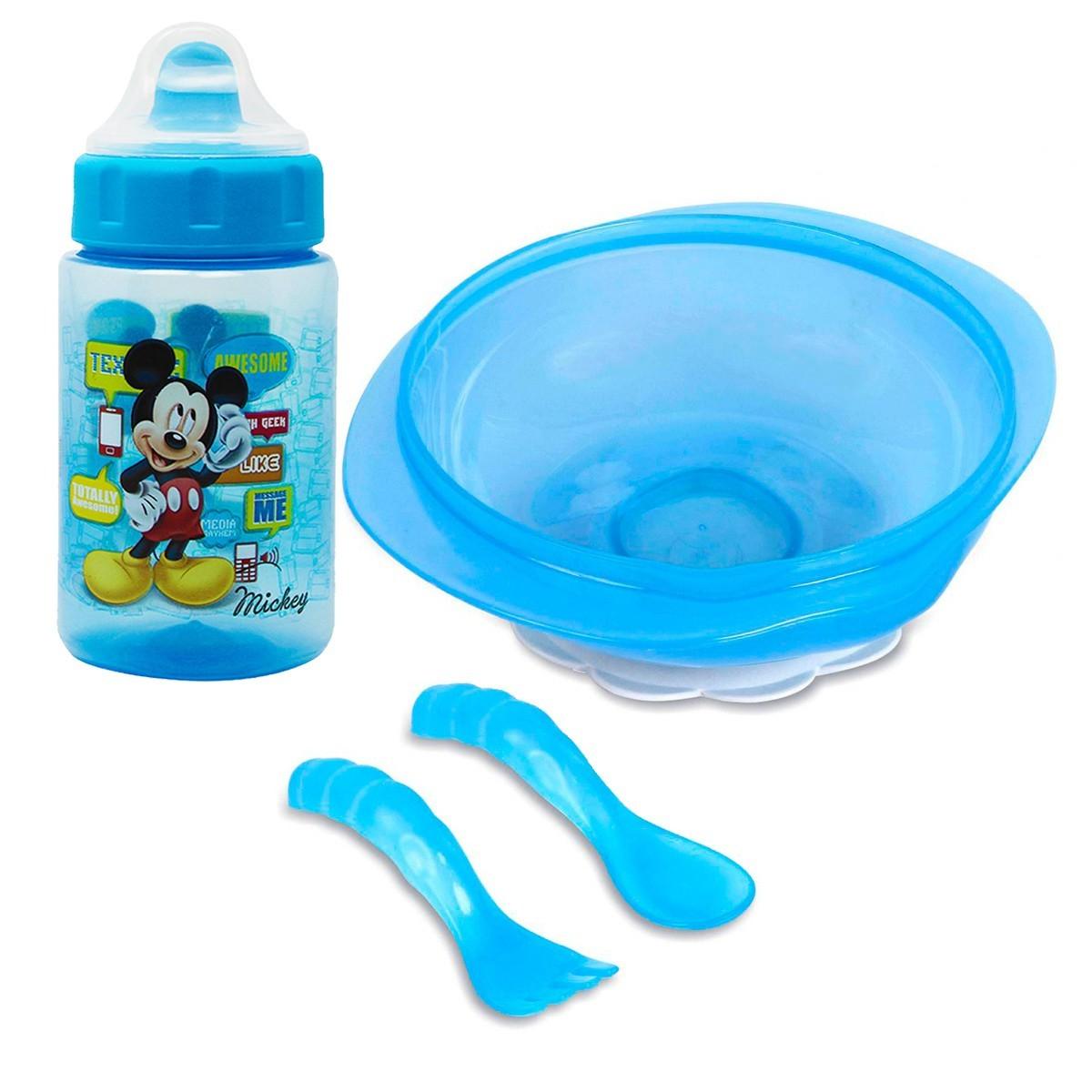 Kit Prato C/ Ventosa e Talheres + Copo C/ Redutor De Pingos Mickey Mouse