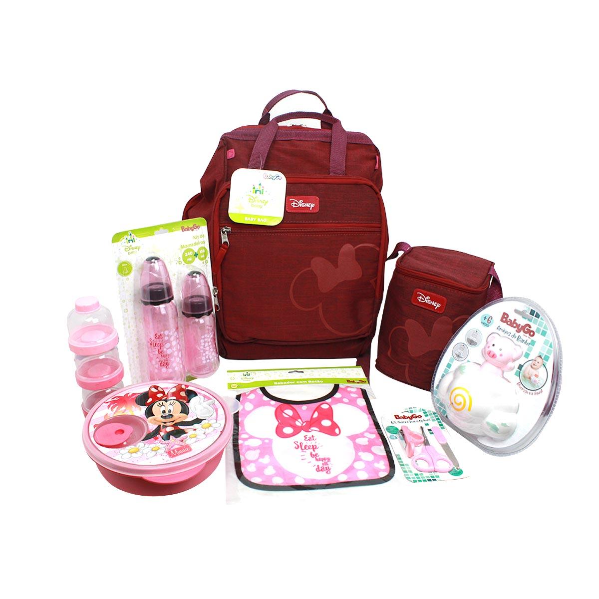 Kit Presente Recém Nascido Minnie Mouse  C/ Baby Bag