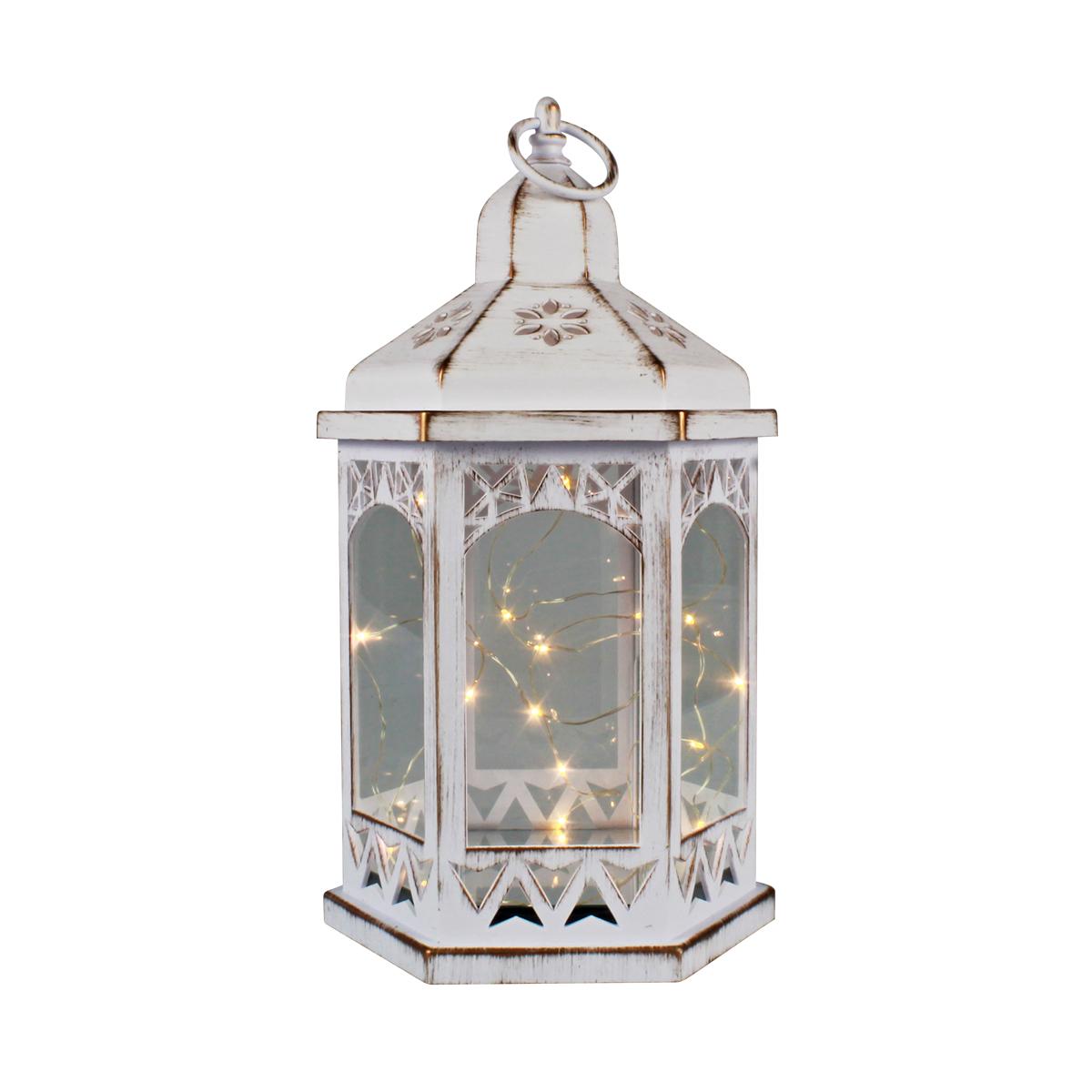 Lanterna Marroquina Decorativa LED Mod. Vazado Branco Envelhecido