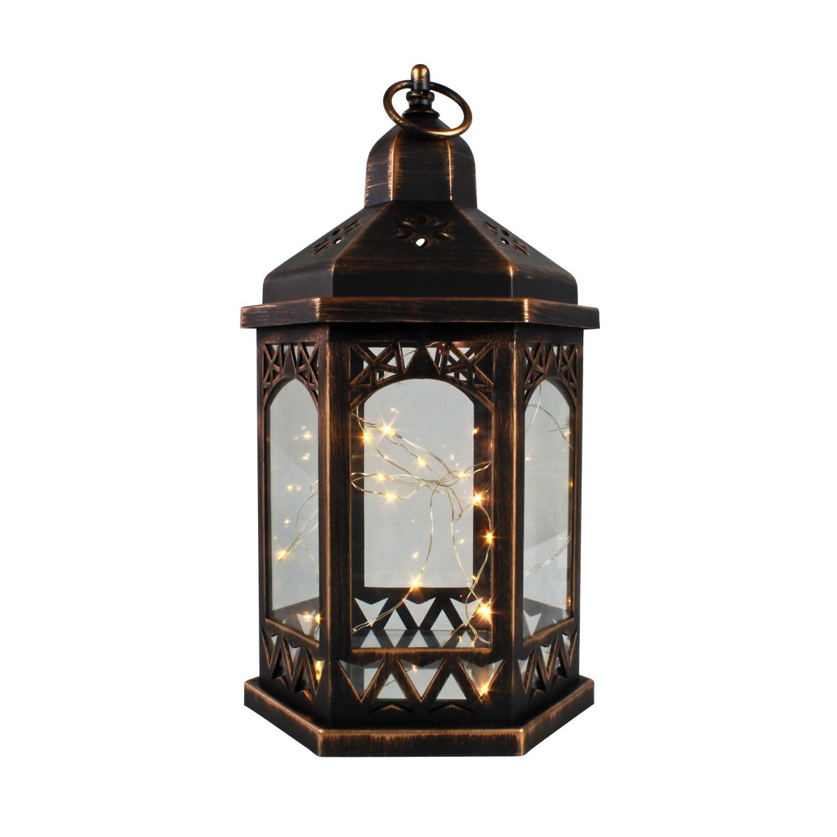 Lanterna Marroquina Decorativa LED Mod. Vazado Preto Envelhecido