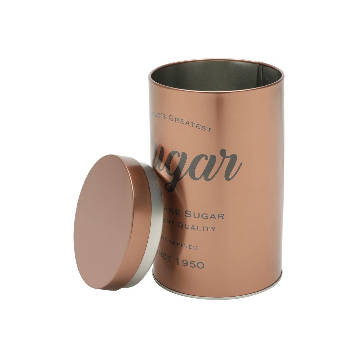 Lata Metal Retrô Expresso Round Pure Sugar cor/Cobre