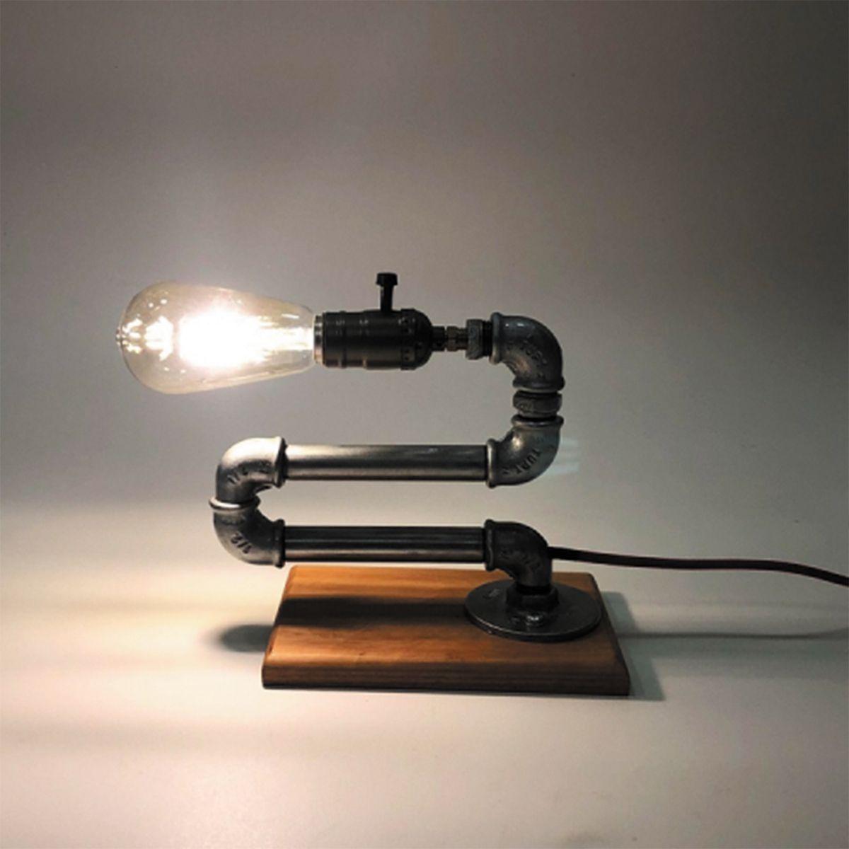 Luminária de Mesa Design Exclusivo Cano de Metal Mod: Minhoca