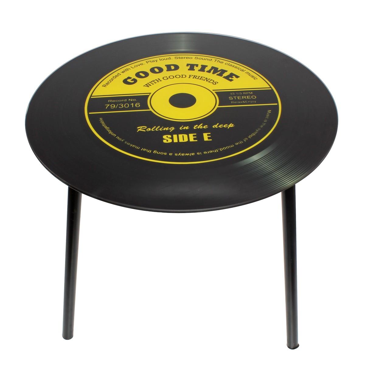 Mesa de Canto Modelo LP - Vinil Good Time Amarelo 40x40x40cm