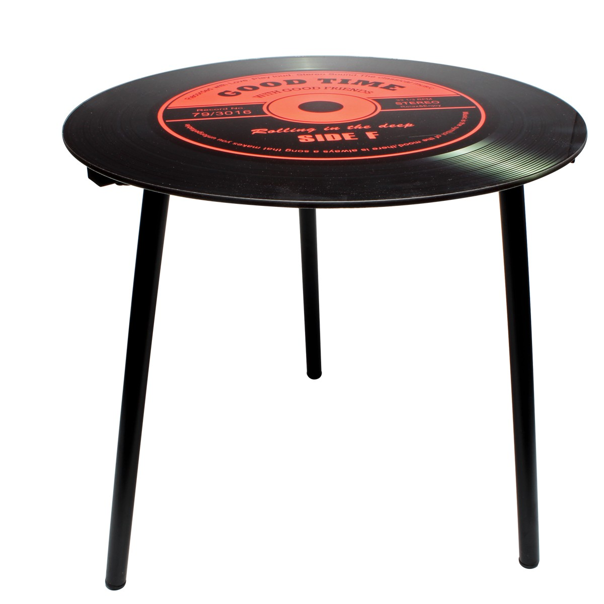 Mesa de Canto Modelo LP - Vinil Good Time Red 40x40x40cm