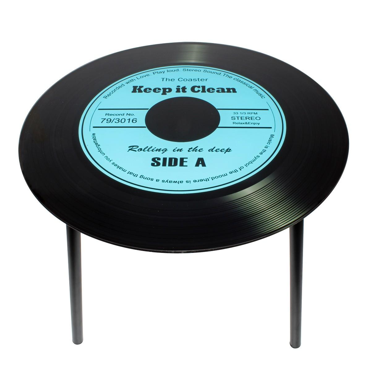 Mesa de Canto Modelo LP - Vinil Keep it Clean Blue 40x40x40cm