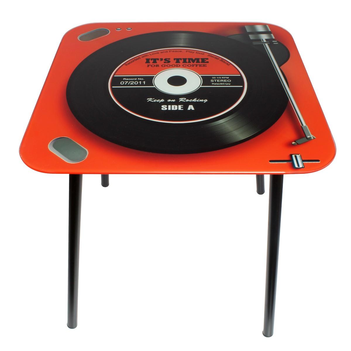 Mesa de Canto Quadrada Vintage Keep on Rocking Red 40x40x40cm