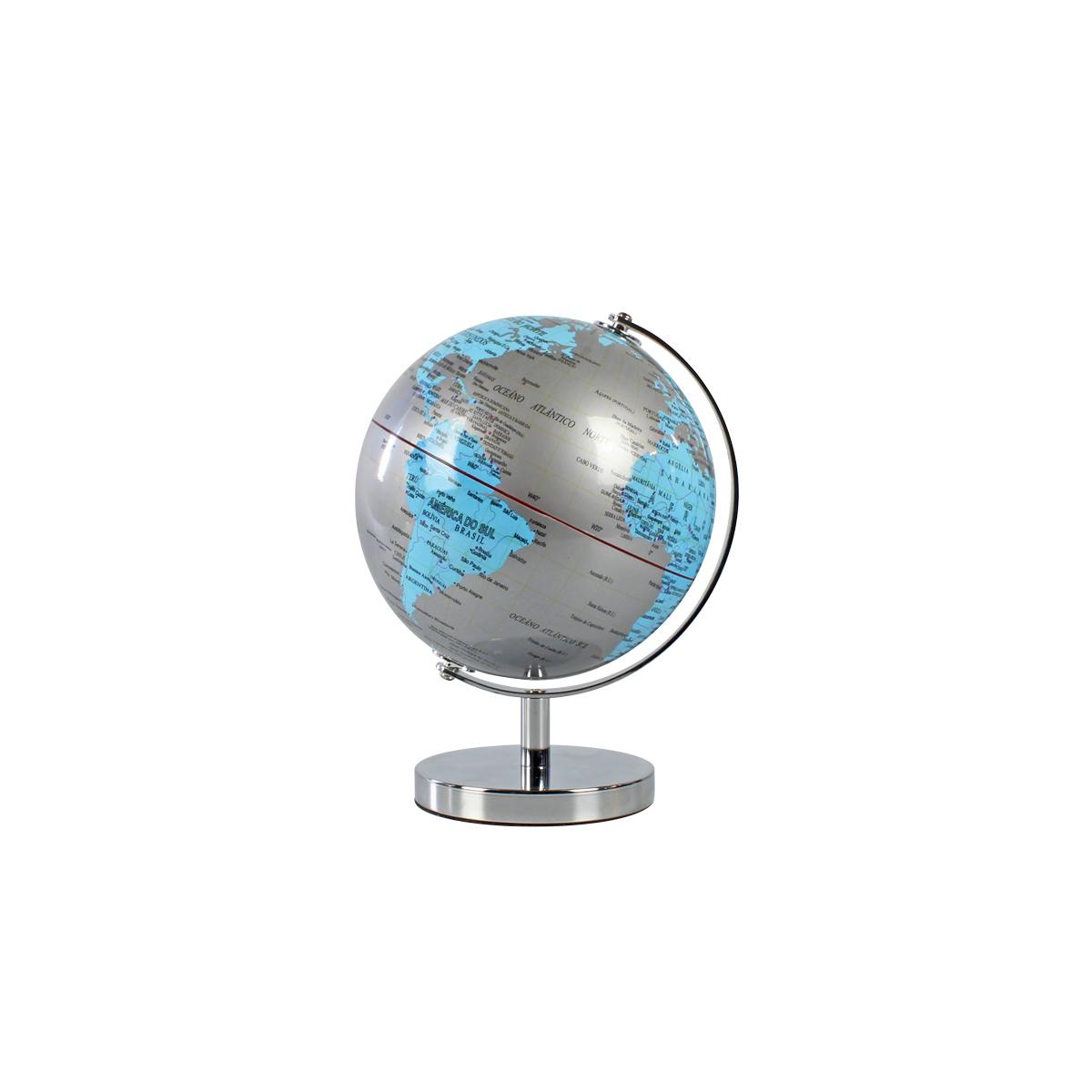 Mini Globo Terrestre Decorativo Edição Luxo Silver & Blue 18cm