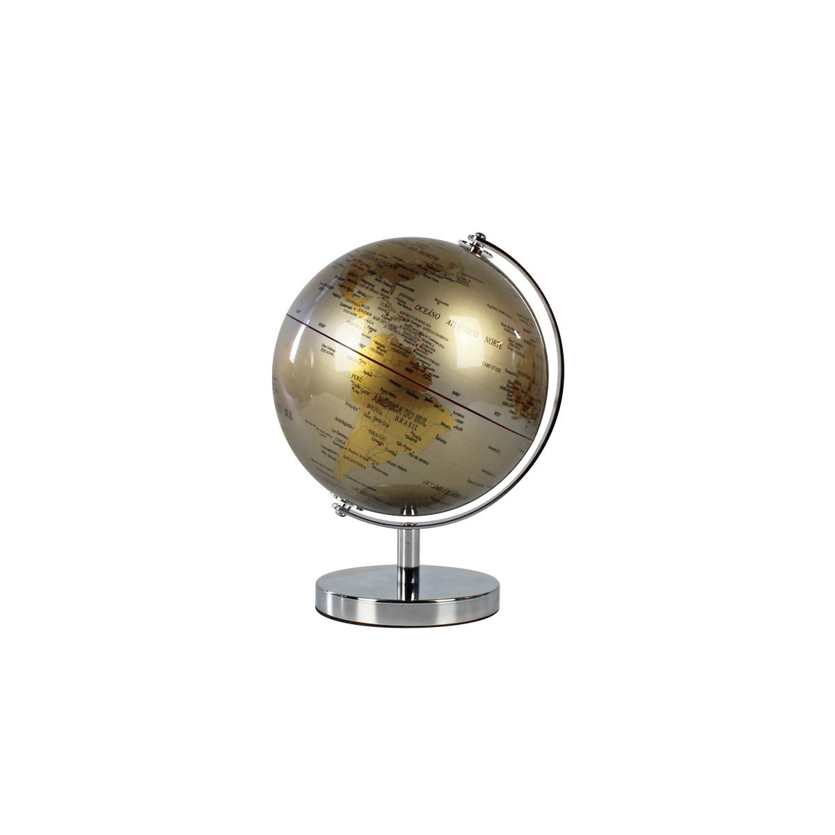 Mini Globo Terrestre Decorativo Edição Luxo Silver & Gold 18cm