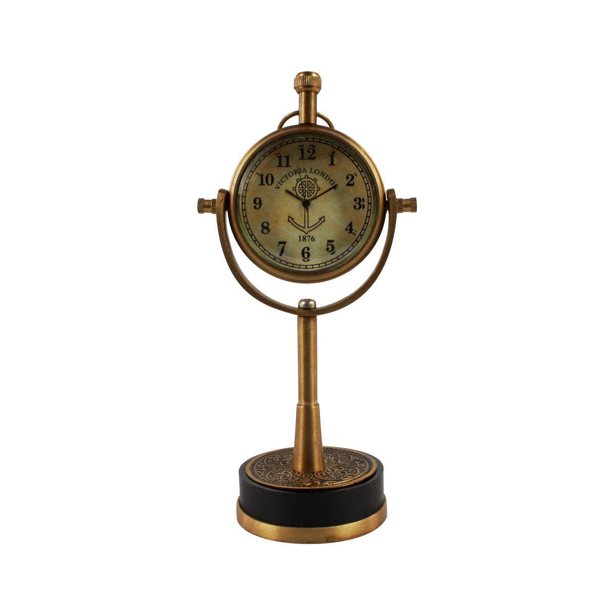 Mini Relógio De Mesa De Metal Náutico Victoria London 1876