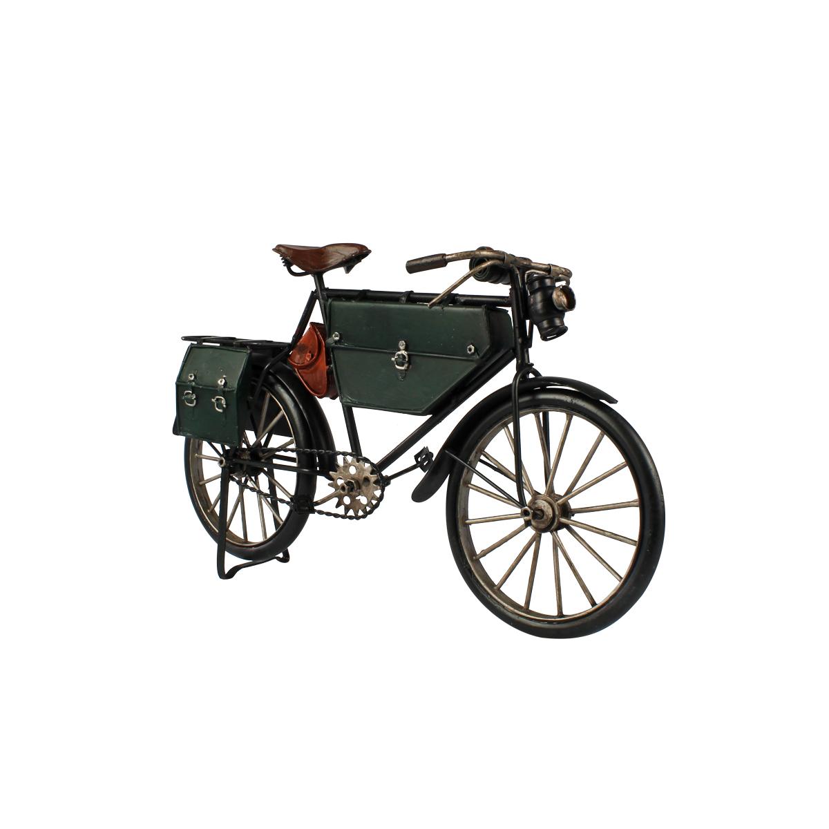 Miniatura De Metal Retrô Bicicleta Verde E Preta Verito