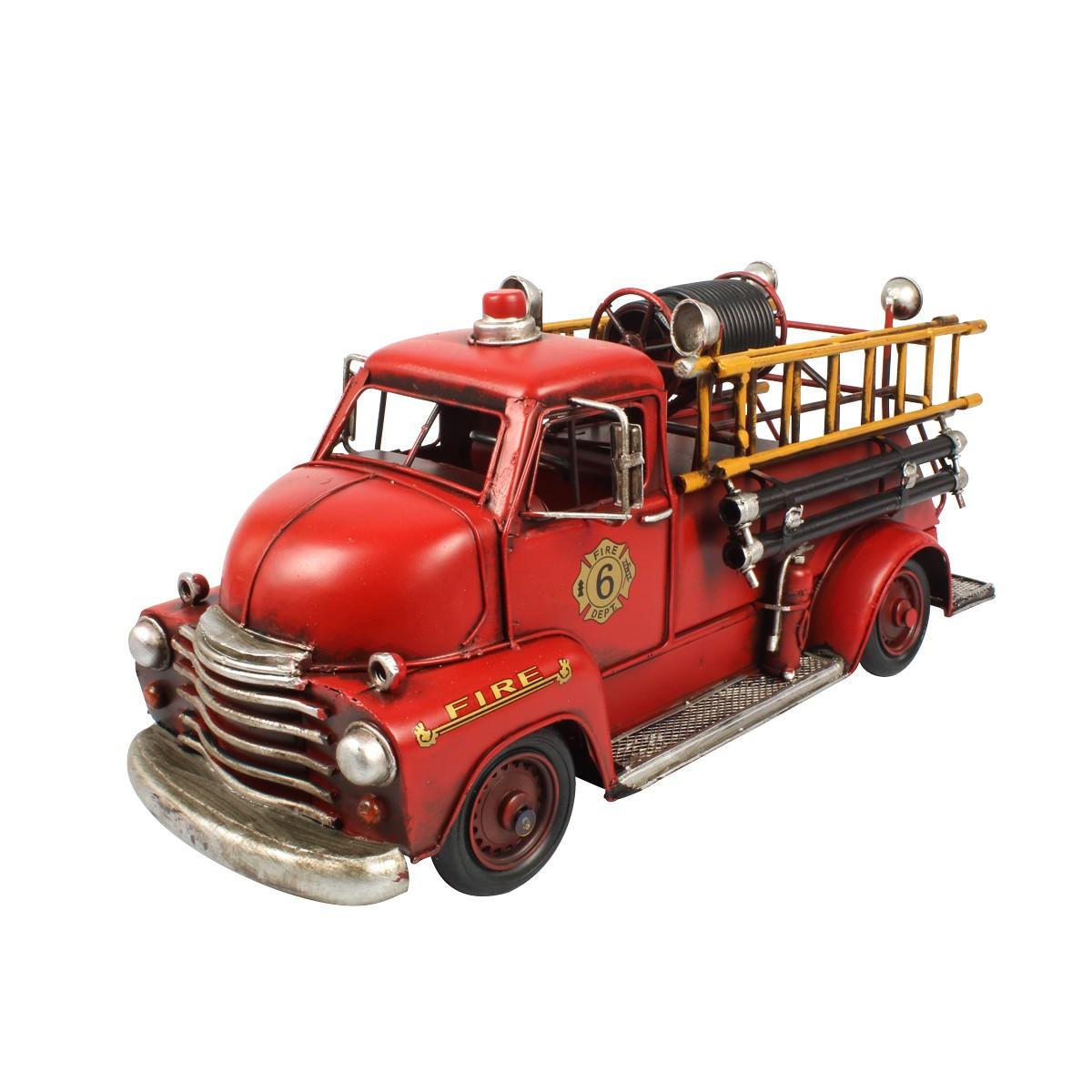 Miniatura De Metal Retrô Caminhão De Bombeiro Fire Department