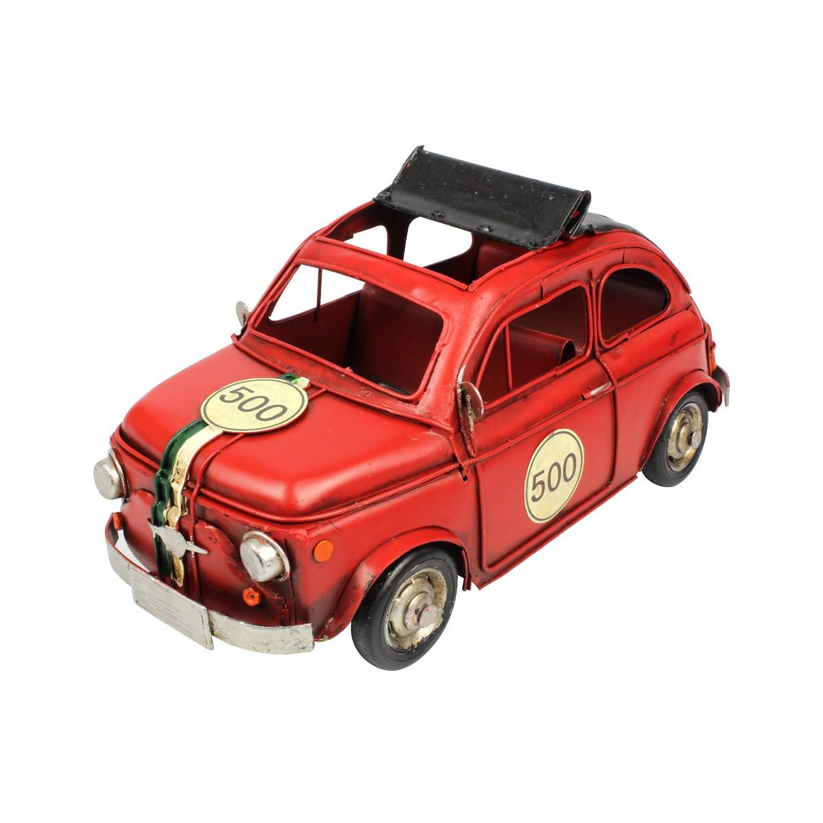 Miniatura De Metal Retrô Fiat 500 Vermelho