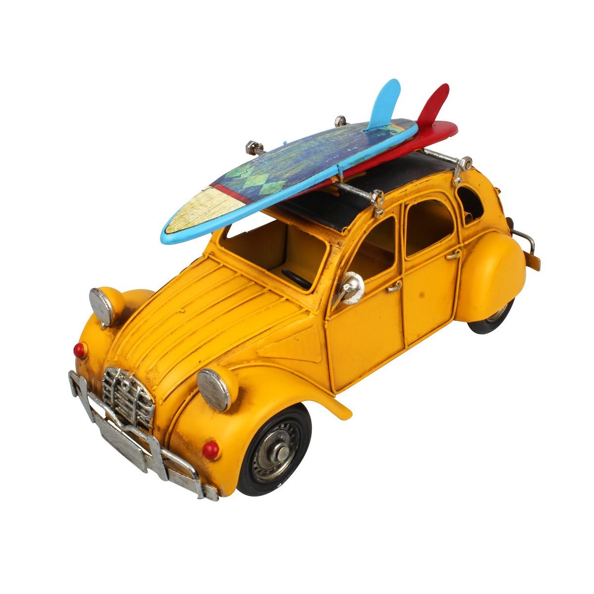 Miniatura de Metal Retrô Citroën 2CV A Caminho Da Praia Amarelo