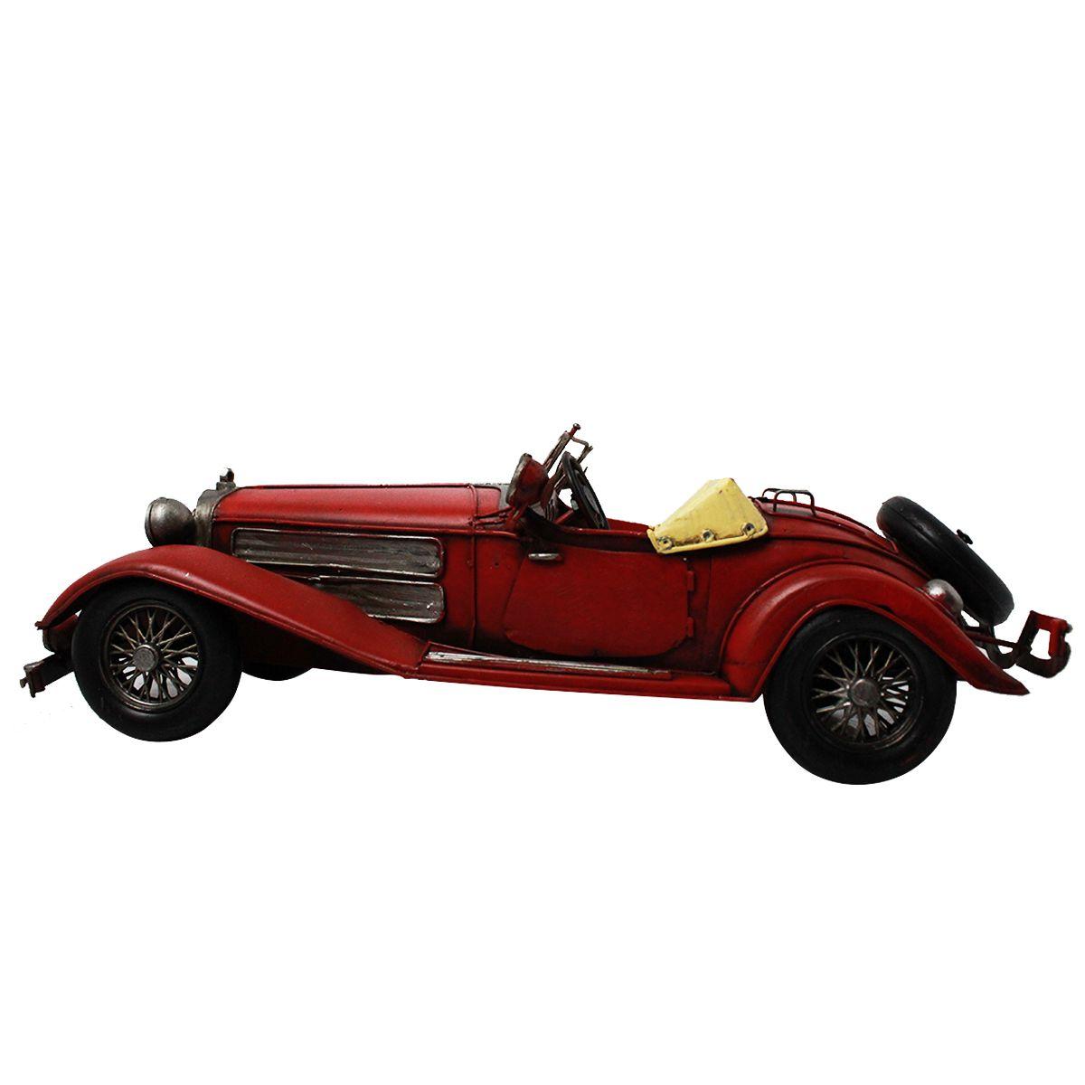 Miniatura de Metal Retrô - Mercedes Benz 500K Vermelha 1936
