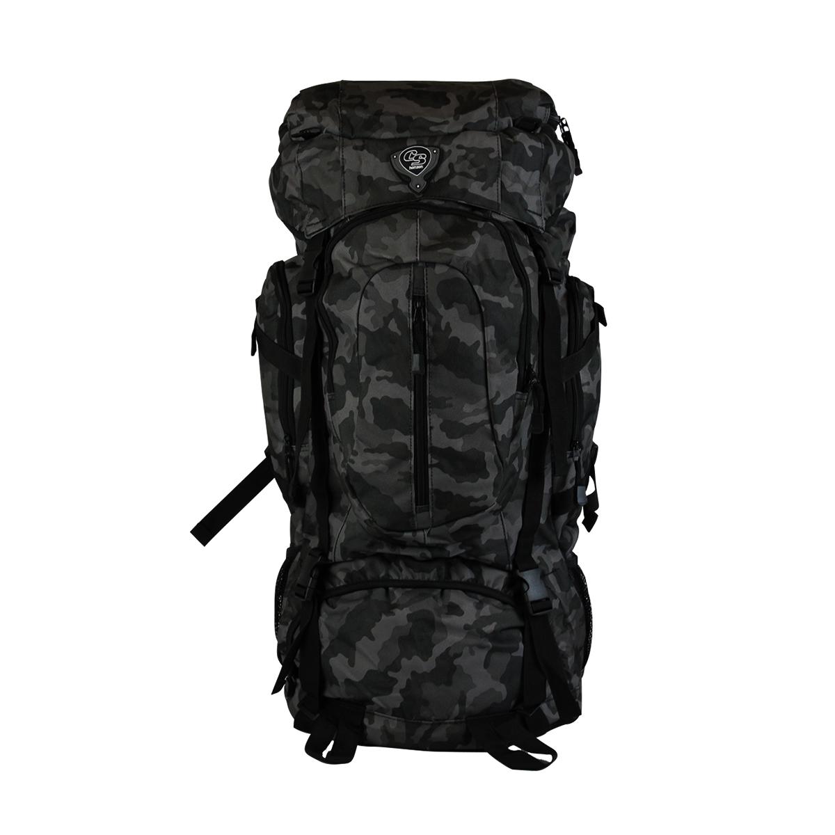 Mochila De Camping Camuflada 50 Litros Preta MC9171 Clio