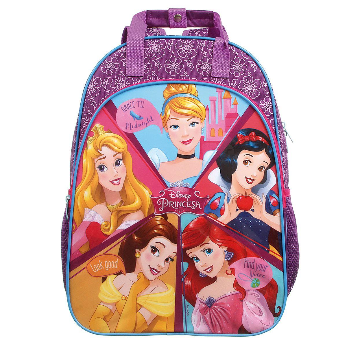 Mochila Escolar Tamanho G 5 Princesas Oficial Disney