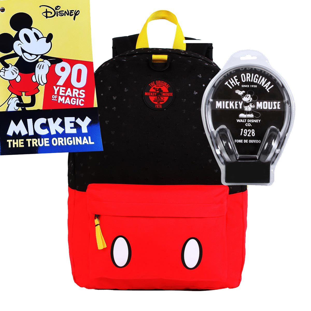 Mochila G Mickey Mouse Especial Edition 90 Anos de Magia C/ Fone Red e Black Disney