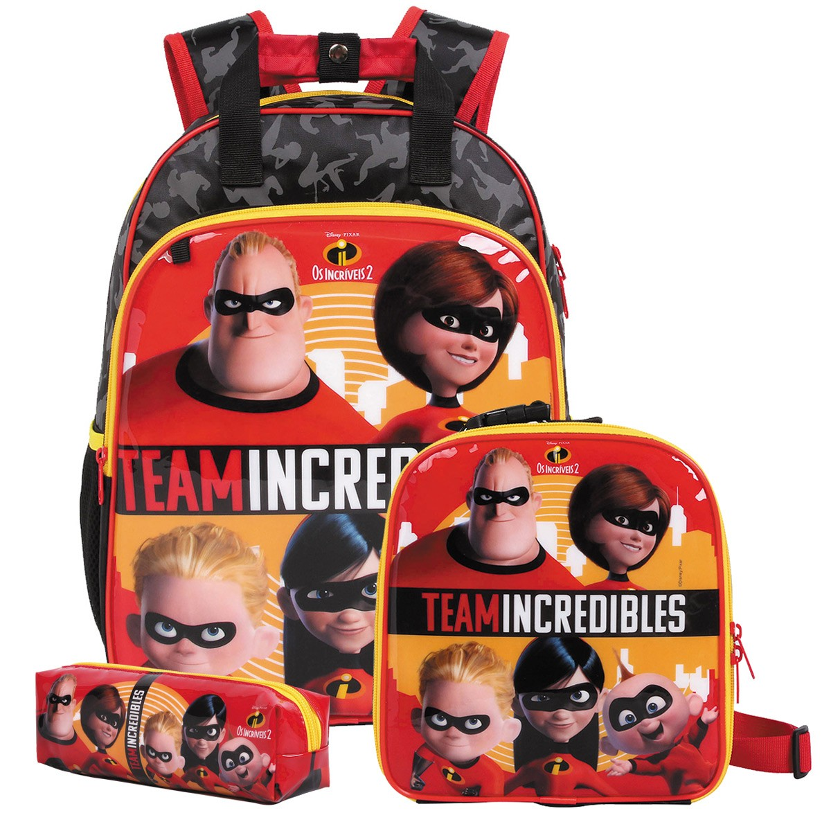 Mochila Os Incríveis 2 Oficial Team Incredibles + Lancheira + Estojo Disney