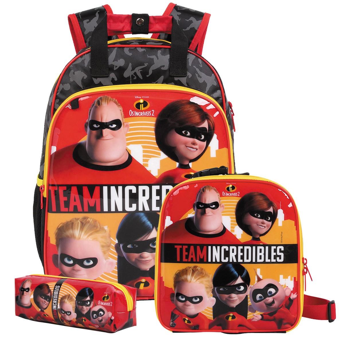 Mochila Os Incríveis 2 Oficial Team Incredibles + Lancheira + Estojo Disney