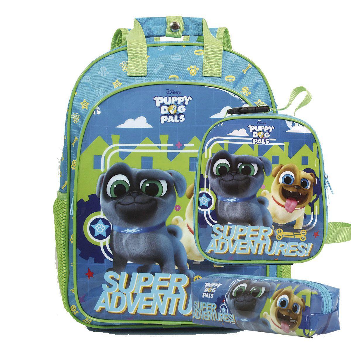 Mochila Puppy Dog Pals Oficial Disney + Lancheira + Estojo