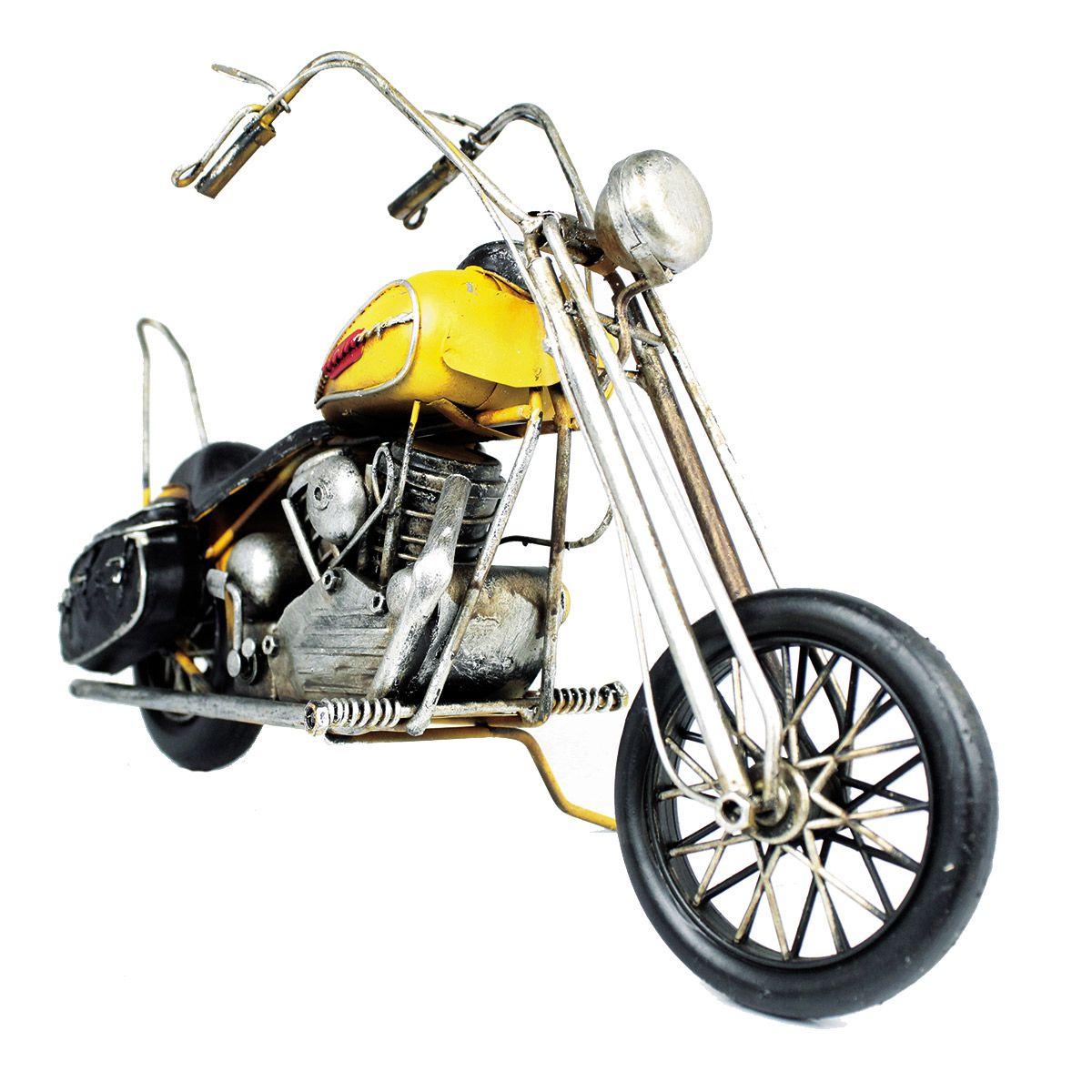 Moto de metal Chopper Hydra Glide Customizada Ano 1949 Amarelo