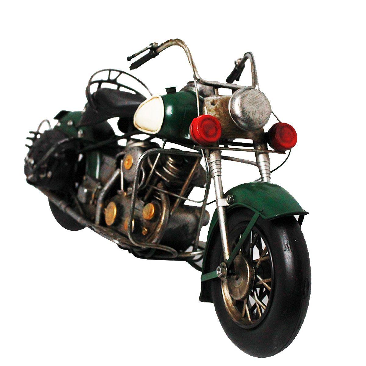Moto Decorativa de Metal Vintage Dark Green C/ Alforge
