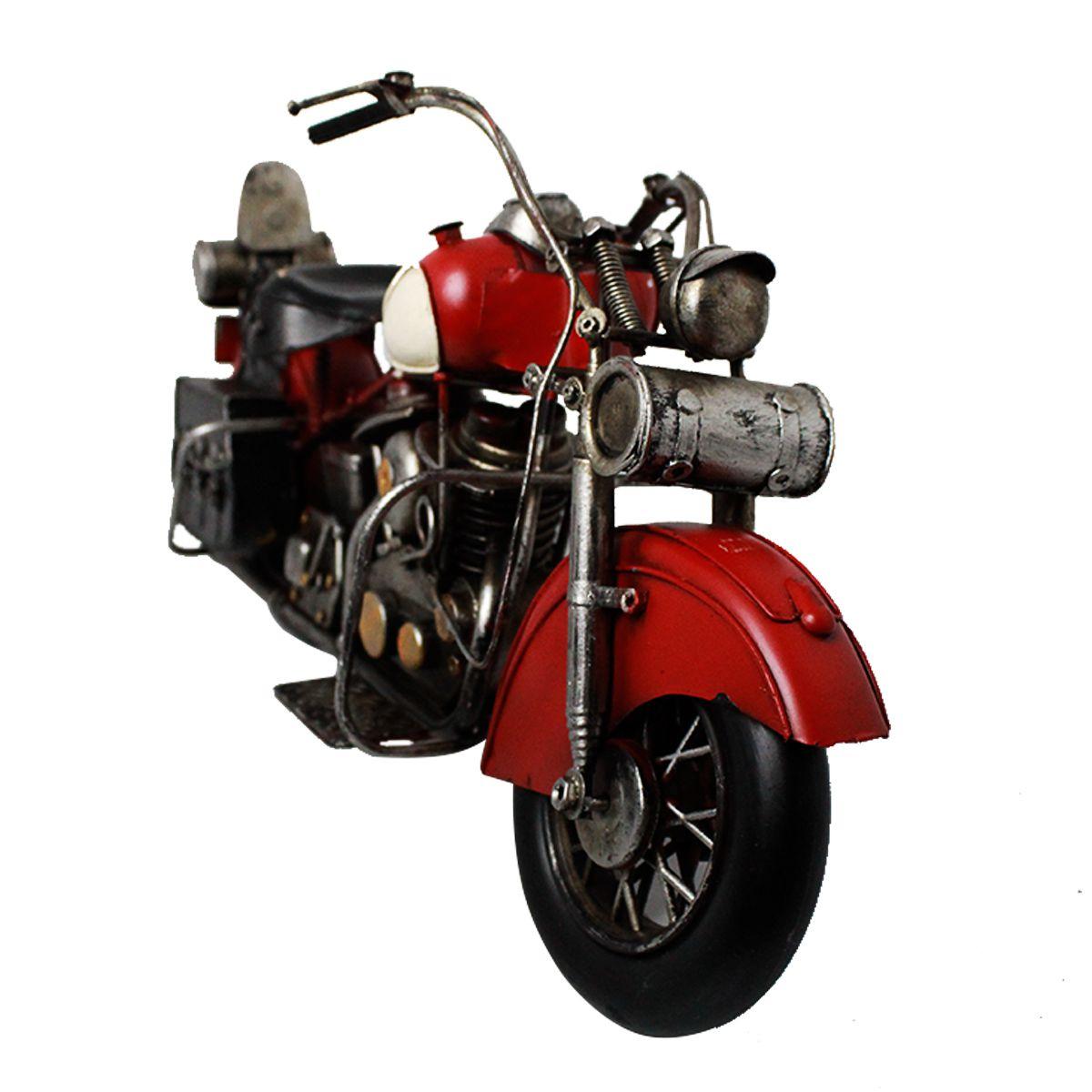Moto Decorativa de Metal Vintage Dark Red C/ Alforge
