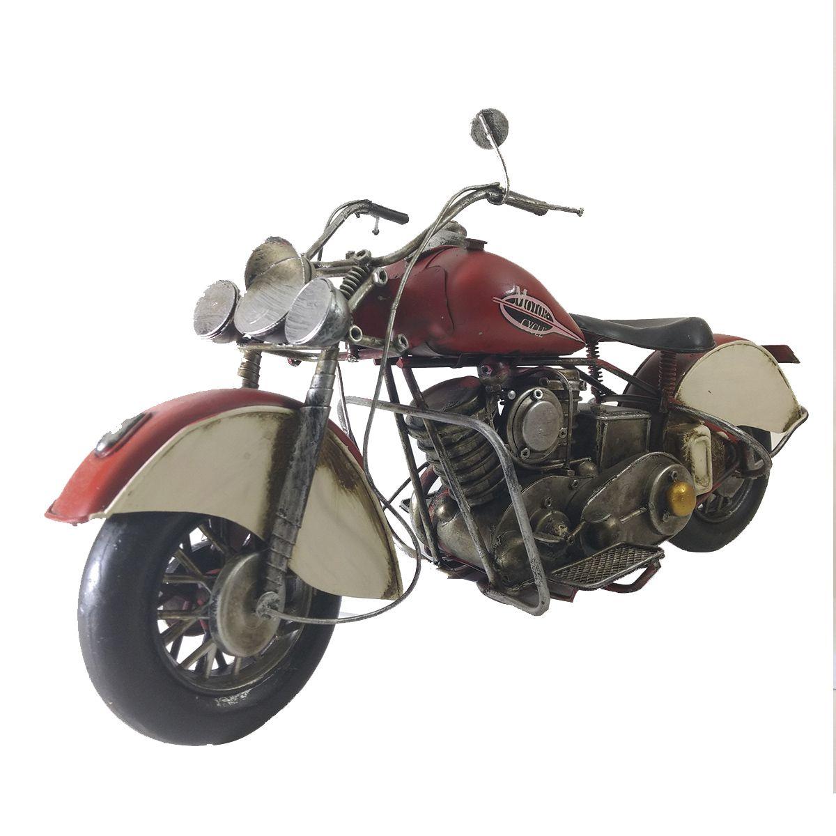 Moto Vintage decorativa de Metal Motor Cycle Red 1216